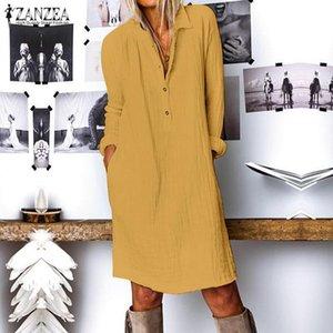 2020 ZANZEA Women Lapel Neck Long Sleeve Shirt Dress Fashion Autumn Cotton Linen Sundress Casual Loose Work Vestido Long Blusas 200925