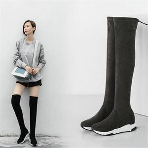 NAYIDUYUN botas altas da coxa Mulheres Grey Black Velvet Cunhas Plataforma Over The Knee High equitação Sapatinho Heel Punk Sneakers oxIQ #