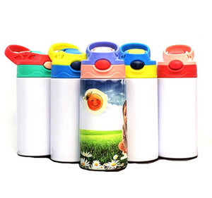 350ml Sublimation enfants Blank Sippy Cup avec bouteille en acier inoxydable Paille d'eau pour les enfants Cadeaux 6 couleurs Duckbill Thermos Cup F92402