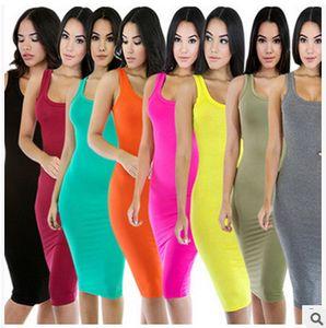 Femmes Designer Robes Halter manches Sexy Hip Tight robe d'été Nightclub Jupe Mode solide Couleur femmes robe longue 2020 Nouveau