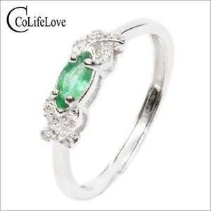 Elegante anello di fidanzamento in argento 925 per la donna 3 mm * 6 millimetri anello verde smeraldo naturale d'argento solido anello verde smeraldo Drop Shipping