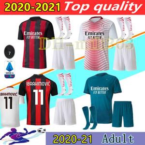 20 21 Milan Soccer Jersey Kits AC 2020 2021 Ibrahimovic Piatek Football Shirt Paqueta Bennacer Theo Tonali Camisa de Futbol مجموعات الزي الرسمي
