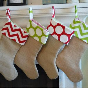 50pcs lot Fast Shipping New Arrival Cute Monogrammed Burlap Christmas Stocking