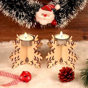 Ahşap Noel Mumluk Seti 12pcs / set Şamdan Yapı Taşı Tatil Partisi Ahşap DIY Mumluk Dekor