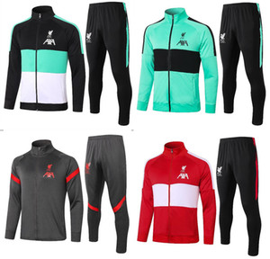 Liverpool Tracksuit 2021 M. SALAH Full Zip Jacket Soccer Training Suit 20 21 PRE-MATCH Football Winter Pants Kit