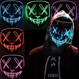 máscara luminosa LED EL fría luz máscara en forma de V de terror sangre de Halloween atmósfera fluorescente amortiguador auxiliar apoyos DWB1080