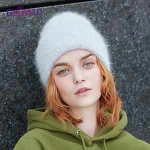 sombreros ENJOYFUR de invierno para las mujeres cálidos colores lisos femeninos casquillos de la manera larga de piel de conejo de pelo de ancho brazalete de estilo joven beanies Y200619