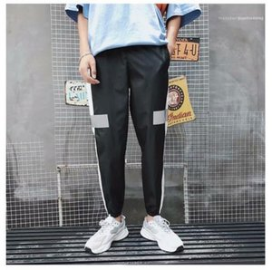 Apparel Mens Casual Designer Pencil Pants 3M Reflective Stripe Print Fashion Style Homme Clothing Pocket Casual