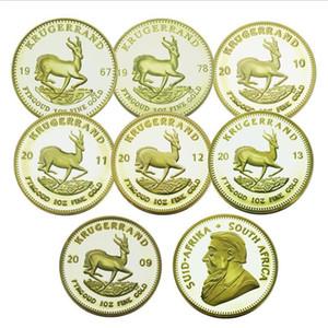 moneda de oro caliente Sudáfrica Kruger moneda conmemorativa, redondo de metal chapado en oro moneda conmemorativa, colección de regalos de artesanía