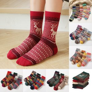 2021 Christmas Cartoon Elk Wool Socks 6 Styles Ethnic In Tube Stockings Winter Thicken Warm Towel Socks for Women Lady Free DHL LQQ139