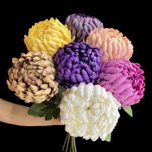 "Fake Single Stem Pineapple Chrysanthemum 29.13"" Length Simulation Fortune Chrysanthemums for Wedding Home Decorative Artificial Flowers"