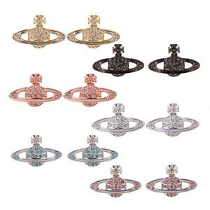 Pendientes de joyas de lujo del diseñador de moda joyas aretes de la reina madre vw Vivienne Vivienne llena de diamantes pequeños pendientes clásicos de Saturno