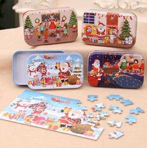60PCS / 설정 크리스마스 나무 퍼즐 어린이 장난감 산타 클로스, 눈사람 두 지그 소 퍼즐 어린이 조기 교육 직소 선물 장식 GGA3678-1