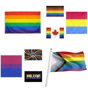 new Rainbow Flag 90x150cm American Gay Pride Flag Polyester Banner Flags Polyester American Banner For Decoration T2I51373