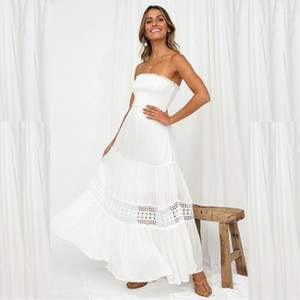 Out Ärmel Strapless süße Kleider der Frauen-Sommer-Maxi Kleider Pure White Wrapped Chest Sommer-Frauen Designer-Kleider Hohl