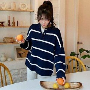 FMFSSOM otoño invierno ocasional de moda de las señoras salvajes Tops Jerseys de punto Botones Botones suéteres con bandas rayadas
