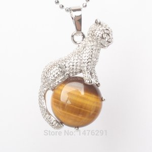 2020 New Arrival Natural Tiger eye Stone Copper Animal Leopard Pendants Charm Jewelry 1PCS