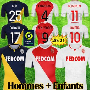 2020 2021 Top Quality maillots AS Monaco Soccer Jerseys JOVETIC GOLOVIN 20 21 Men Kids maillot de foot Flocage JORGE Football Shirt