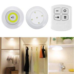 LED DiMmable под кабинетом COB Night Light Battery Operated Puck Освещение шкафы света с дистанционным управлением для гардеробной кухни