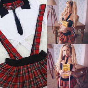Mulheres Sexy Ladies impertinente alta School Girl Plaid Strapless manga curta Cortar Tops Straps Fantasia saia 2pcs Costume Outfit Cosplay