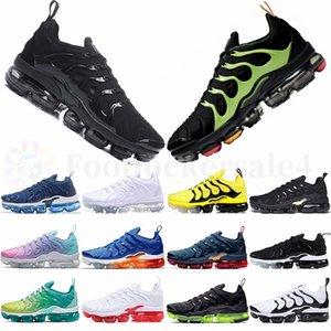 Tamaño grande de 12 nuevos air Max Tn Plus Vapormax zapatos corrientes 36-46 Negro eléctrico triple verde pendiente blanca de uva Hombres Mujeres Entrenadores zapatillas de deporte