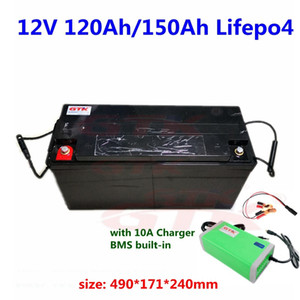 GTK Waterproof 12V 120Ah 150Ah Lifepo4 battery BMS 4S 12v for trolling motor RV Camper van Inverter power supply+10A Charger