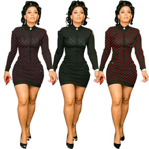 Mulheres Marca Mini vestidos de manga comprida saias curtas Bodycon Sexy Inverno Roupa Stripe Carta Fique Collar Vestidos DHL 1590