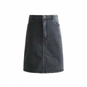 WJ2002-18 estilo coreano invierno de alta alta cintura delgada recta One-Step Denim cadera denim elástico de la falda de un solo paso