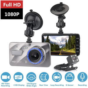 4 Inch HD Dual Lens Support Reversing Image 1080P Hidden Wide Angle Driving Recorder Dashcam Car DVR Camera Built-in G Sensor
