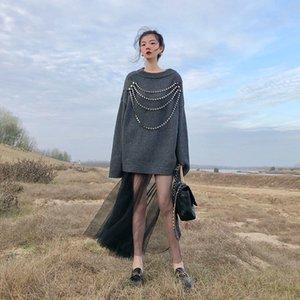 20200829 maniche lunghe donne slaccia il maglione francese retrò stile di celebrità T-shirt casuale