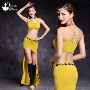 Sahne Giyim Modal Malzeme Bayan Oryantal Dans Sütyen Takım Elbise Seksi Performans Egzersiz Giysileri Sarı Siyah Bellydance Kostüm Set Yetişkin Elbise