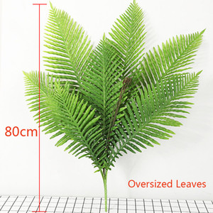 80см 8 Вилка Большой Искусственный Palm Tree Тропическая монстера Поддельные растения Пластиковые Пальмовые листья Ложные Ферн лист для декора свадьбы