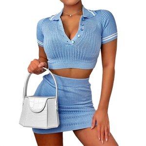 YICIYA Knitting gewellte Mode Frauen Zweiteilige Sets kurze Hülsen-beiläufig Bodycon Outfit Knopf Crop Top und Rock Co-ord Set T200821