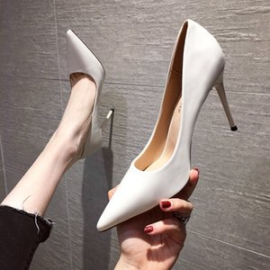 Women's Shoes 2020 Spring and Autumn New All-match Women's White High Heels Stiletto High Heels Sexy Nude Single Shoes Women