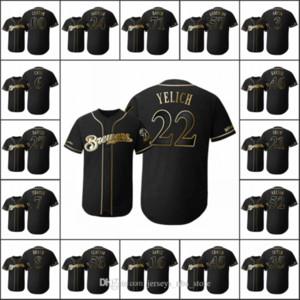MilwaukeeBira Erkekler # 22 Christian Yelich 8 Ryan Braun 35 Brent Suter Kadınlar Gençlik Golden Edition Siyah Flex Bankası Özel Jersey
