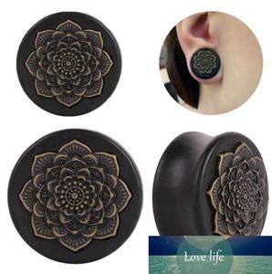 Men Piercing Ear Plugs Jewelry Wood Mandala Datura Flower Auricles Ear Tunnel Body Jewelry for Women 10mm-25mm Gauges Wholesale