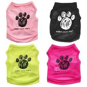 Мягкий полиэфирного волокна собак Жилеты моющийся дышащий Pet рубашка Печать Footprint Письмо сделать Марк Puppy Одежда Отдых Повседневный 5 7cy4 ZZ