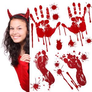 Huella de mano de Halloween Scary Halloween sangriento PVC etiqueta de la casa encantada Prop Decoración de ventanas a prueba de agua con sangre de huellas dactilares Calcomanías GWE1909