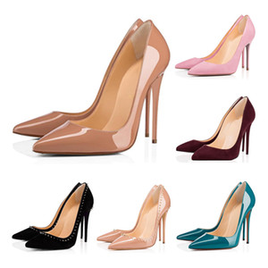 Üst Kalite Kırmızı Alt Bayanlar Yüksek Topuklar Nü Renk Sandalet Moda Ziyafet Stilist Ayakkabı Bayan Elbise Ayakkabıları Çivili Deri Ayakkabı Sivri