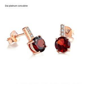 925 Garnet et boucles d'oreilles en argent trésor LightColor rond or rose grenat naturel Fashion Boucles d'oreille femme Boucles d'oreilles