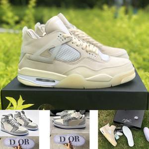 nike أحذية air retro jordan 4 sail 4 x off white مع مربع الأربطة 2020 أعلى جودة Jumpman للسيدات أحذية كرة السلة للرجال المدربين أحذية رياضية رياضية الحجم 13