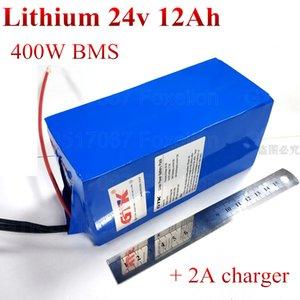 elektrik 400w bisiklet 500w motoru 350w 250w carzy sepeti + 2A şarj için 24v 12Ah pil lityum li-ion BMS