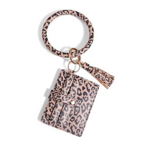 Leather Bracelet Key Chain purse PU Wrist Round Key Ring Tassel Pendant Leopard Bufflao Wristband Keychain Bracelets Key Rings