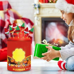 6PCS de Santa / sombrero del duende de Navidad de plata Holder bolsillos botella Cuchillo Cuchara Tenedor bolsa de vino Cap partido de la decoración de la cubierta de caramelo Topper