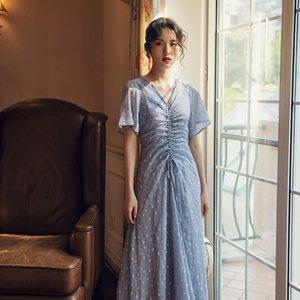 cIv0D 새로운 V 넥 꽃 Feifei 소매 쉬폰 드레스 인쇄 허리 드레스를 졸라 매는 끈 우아한 칼라 주름