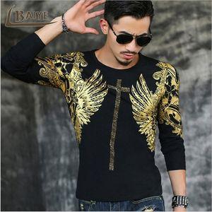 TBAIYE 2019 Mens Casual T Shirts O-neck Black Gold Bronzing Angel Wings Cross Print Men's Long Sleeve Slim Men T-Shirts Tops