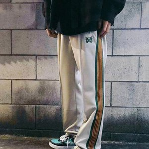20SS Classic Butterfly Embroidery Wide Leg Pants Side Webbing Drawstring Pants Elastic Waist Trousers Sweatpants Sport High Street HFYMKZ257