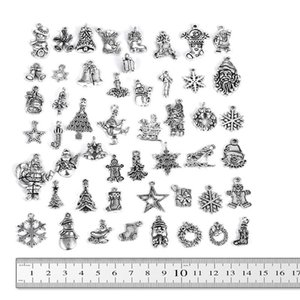 50pcs Mixed Antique Silver Color Santa Claus Snowflake Snow Deer Christmas Tree Charms Pendant for Necklace DIY Jewelry Findings