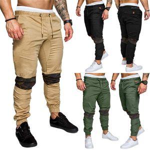 Delgado del lápiz pantalones regulares del color sólido del lazo del Mens de la manera pantalones de camuflaje con paneles de pantalones para hombre diseñador ocasional