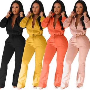 Duas mulheres Piece Set Zipper Up Jacket Alargamento Calças Esporte Roupas Macacões Corredores condizer Atacado Dropshpping Hot Sale